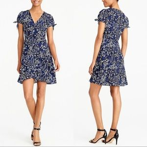 NWT J. Crew blue floral faux wrap dress